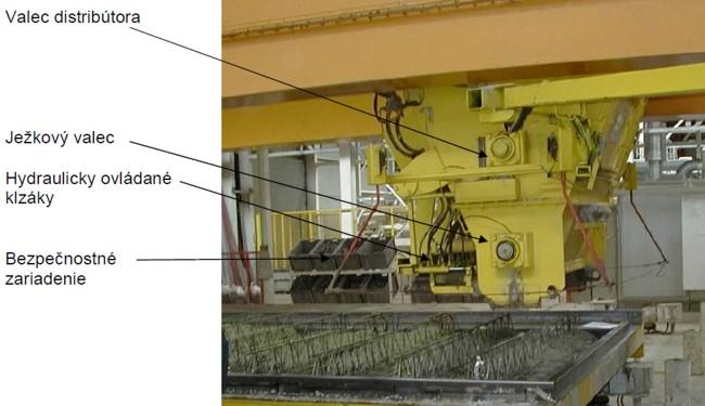 mostový distribútor betónu bez vibračnej lišty