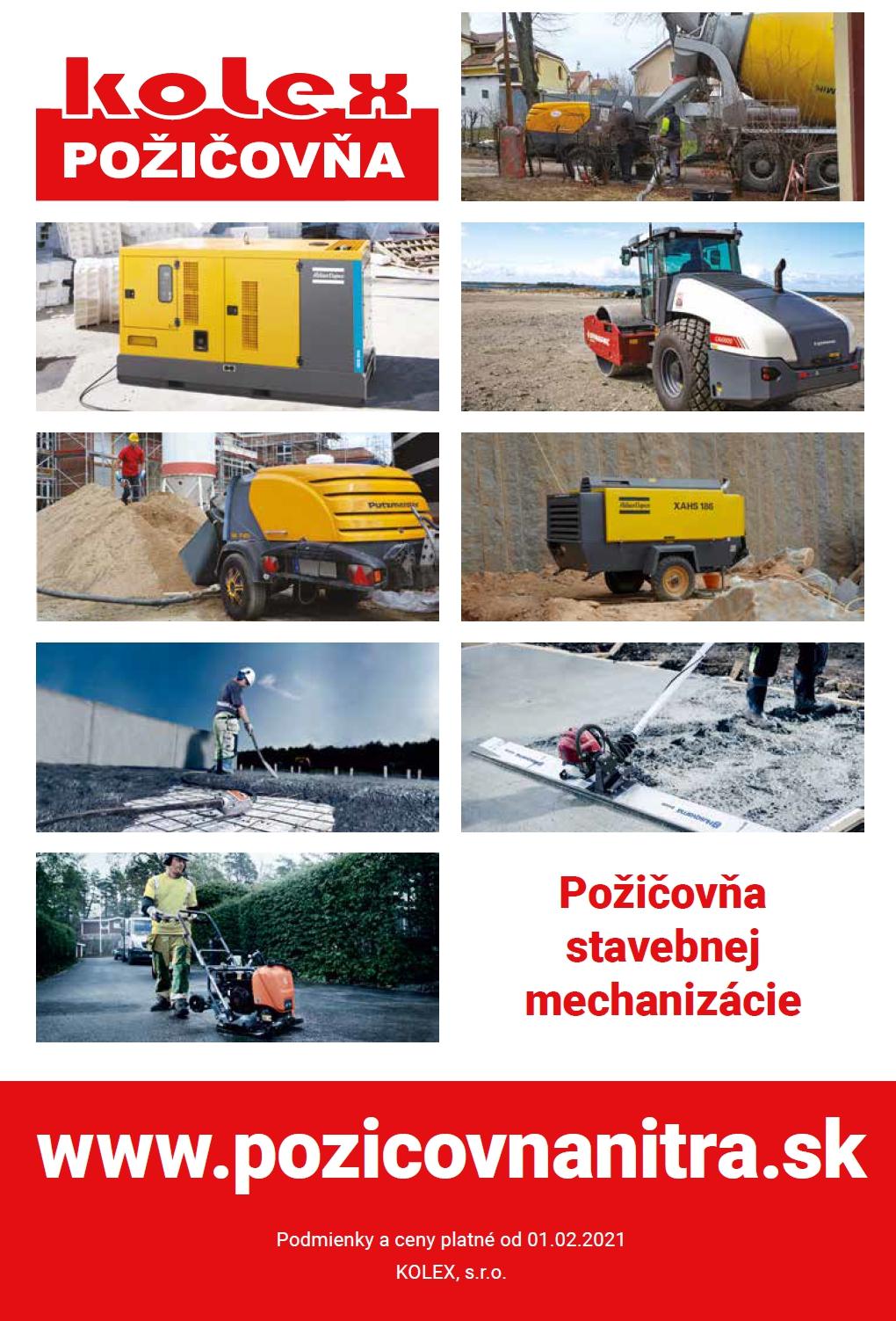 cennik prenajmu stavebnych strojov